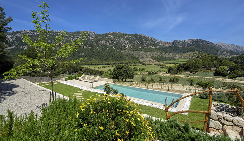 self catering villa with private pool attached to a hotel in Orient Majorca